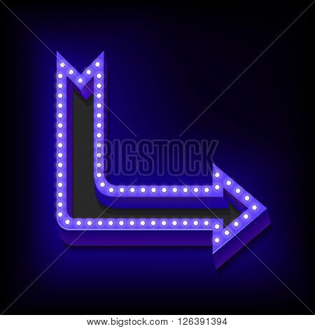 Neon retro arrow with glowing lights. Vintage Blue arrow to the right. Volume boom with lots of lights and a blue neon light. The object on a black background. illustration