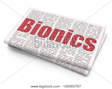 Science concept: Bionics on Newspaper background