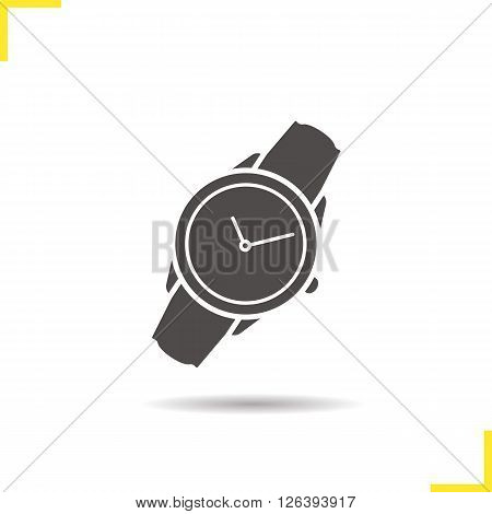 Wristwatch icon. Drop shadow watch icon. Man and woman accessory. Classic wrist watch. Isolated wristwatch black illustration. watch logo concept. Vector silhouette wrist watch symbol
