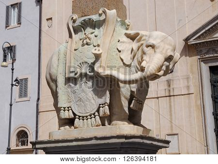 Bernini's Elephant marble statue with Pope Chigi emblem in front of Santa Maria sopra Minerva Basilica designed by the famous baroque artist in the 1660s