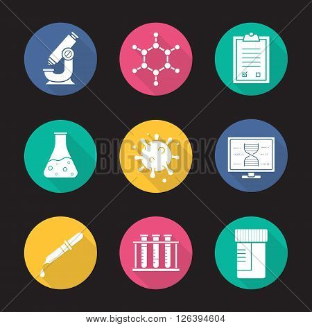 Laboratory equipment flat design long shadow icons set. Research biological science lab tools. Scientific, pharmaceutical and medical lab items. Logo concepts. Vector white silhouette illustrations