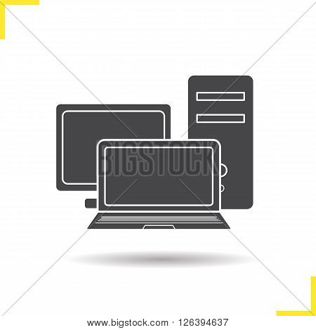 Computers icon. Drop shadow computers icon. Personal computer, system unit and laptop. Modern digital equipment. Isolated black computers illustration. Logo concept. Vector silhouette computers symbol