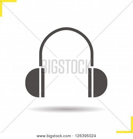 Headphones icon. Drop shadow headphones icon. Portable headphones. Meloman modern equipment. Isolated headphones black illustration. Logo concept. Vector silhouette headphones symbol