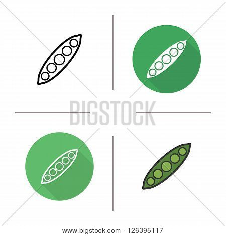 Pea pod flat design, linear and color icons set. Peas in pod icons. Seasonal agricultural pea plant. Open pea pod logo concept. Isolated open pea pod illustrations. Vector raw green pea pod icons