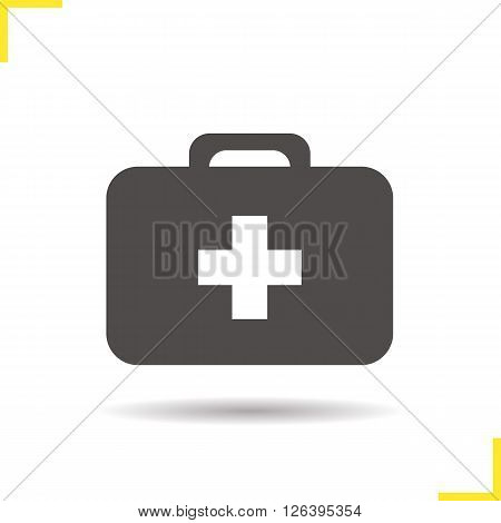 Medicine chest icon. Drop shadow medicine chest icon. First-aid kit. Medicine container. Isolated medicine chest black illustration. Logo concept. Vector silhouette medicine chest symbol