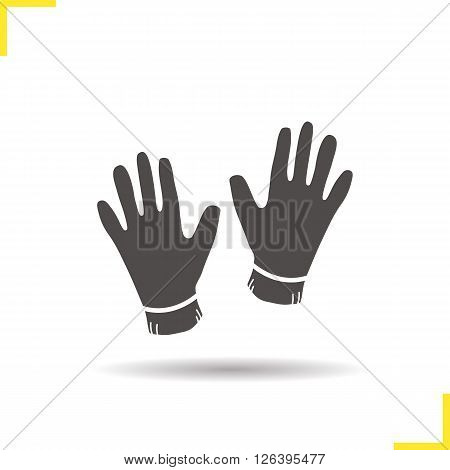 Gloves icon. Drop shadow gloves icon. Worker protective clothes. Isolated gloves black illustration. Logo concept. Vector silhouette gloves symbol