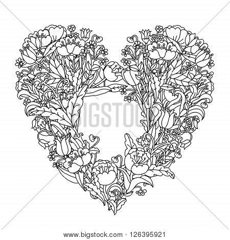 Hand drawin uncolored elements. Black and white. Heart shape in Flower coloring book  mandala style. Vector illustration. The best for design, textiles, posters, tattoos, cards, coloring book