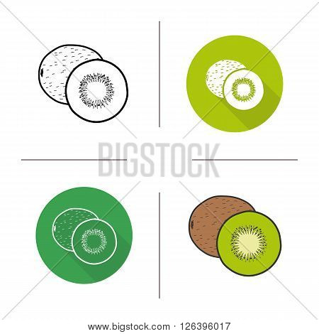 Kiwifruit flat design, linear and color icons set. Ripe sliced kiwi icons. Sweet tropical berry. Organic food. Long shadow logo concept. Isolated kiwifruit vector illustrations. Infographic elements