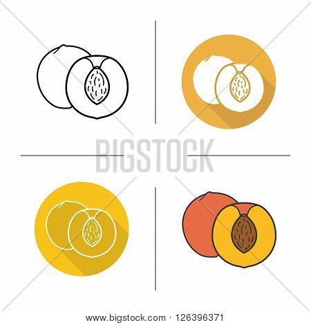 Peach flat design, linear and color icons set. Ripe sliced peach icons. Sweet tropical fruit. Organic food. Long shadow logo concept. Isolated peach vector illustrations. Infographic elements