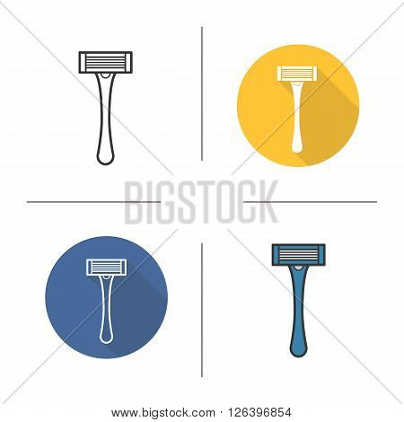 Razor flat design, linear and color icons set. Shaving razor icon. Personal hygiene shaving equipment. Shaving razor logo concept. Isolated safety razor shaving illustrations. Vector shaver icon
