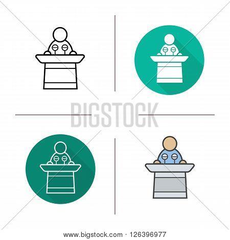 Speaker flat design, linear and color icon set. Speaker presentation. Politician orator press conference icon. Orator and speaker logo concept. Isolated business conference speaker vector illustration poster