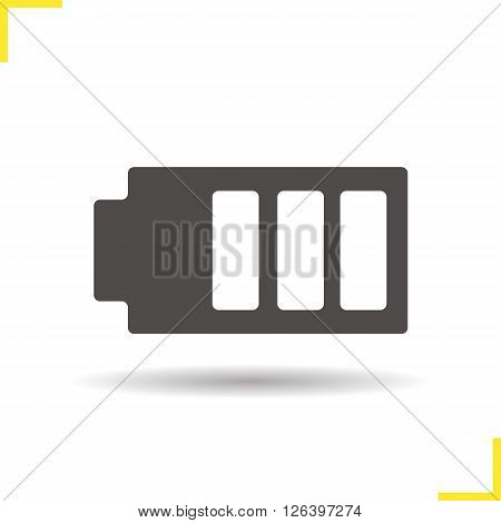 Battery icon. Drop shadow battery charge icon. Smartphone attery charge indicator. Isolated battery black illustration. Logo concept. Vector silhouette battery charge symbol