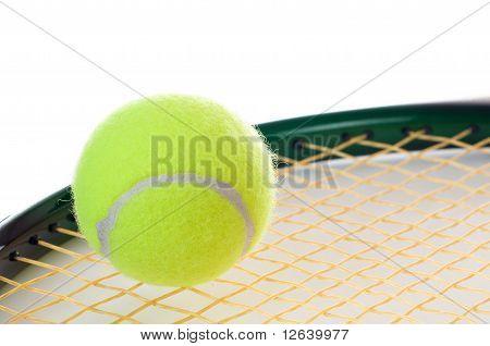 Single Tennis Ball On A Racket