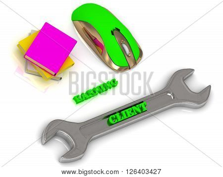 CLIENT bright volume letter on silver instrument textbooks and computer mouse on white background