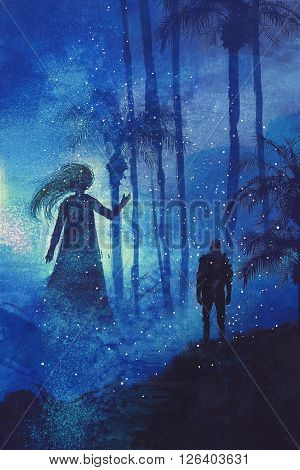 encounter between man and ghost in mysterious dark forest, illustration painting