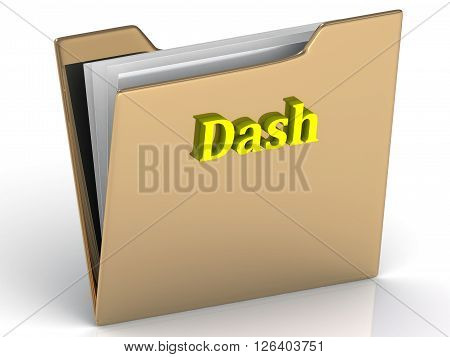 Dash- bright color letters on a gold folder on a white background
