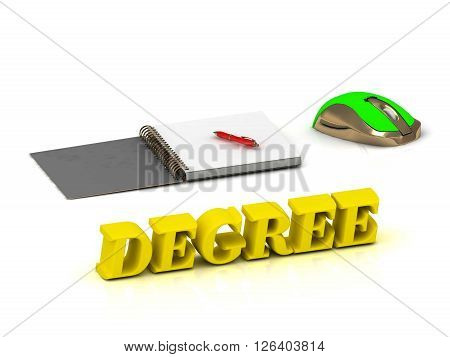 DEGREE inscription bright volume letter and textbooks and computer mouse on white background