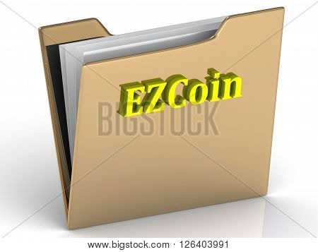 EZCoin- bright color letters on a gold folder on a white background