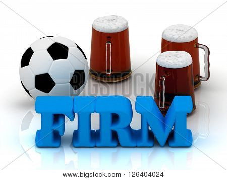 FIRM blue bright word football 3 cup beer on white background