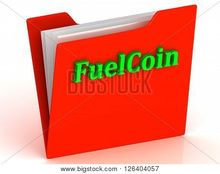 FuelCoin- bright green letters on red paperwork folder witch paper list on a white background