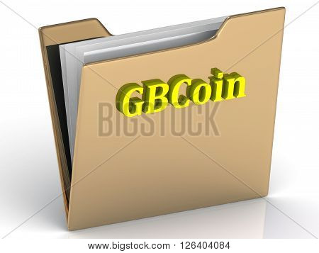 GBCoin- bright color letters on a gold folder on a white background