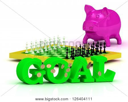 GOAL bright word money pink piggy yellow chess on white background