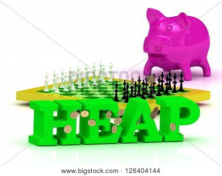 HEAP bright word money pink piggy yellow chess on white background