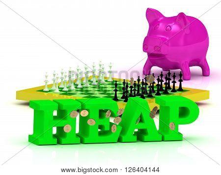 HEAP bright word money pink piggy yellow chess on white background