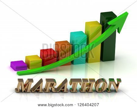 MARATHON bright of gold letters and Graphic growth and green arrows on white background
