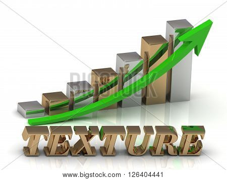 TEXTURE- inscription of gold letters and Graphic growth and gold arrows on white