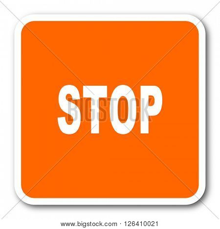 stop orange flat design modern web icon