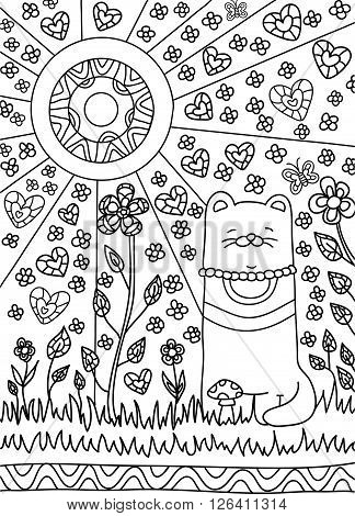 happy cat in the garden among the flowers the sun is shining bright. Black and white background