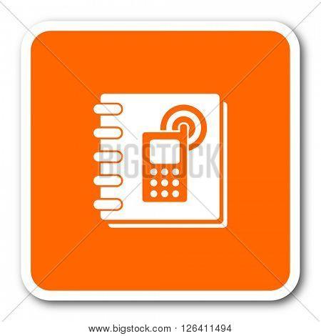 phonebook orange flat design modern web icon