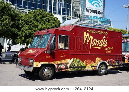 LOS ANGELES - MAR 3: Mangia Food Truck during WonderCon at the Convention Center on March 3, 2016 in Los Angeles, California