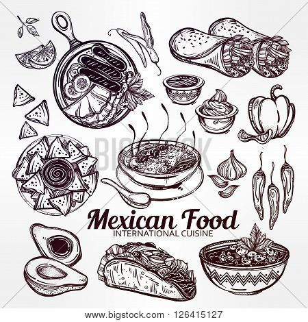 Mexican hand drawn food set menu. International latin food vector illustrations. Vector menu sketch. Hispanic cuisine menu. Hand drawn international food menu. Template for restaurant or take out.