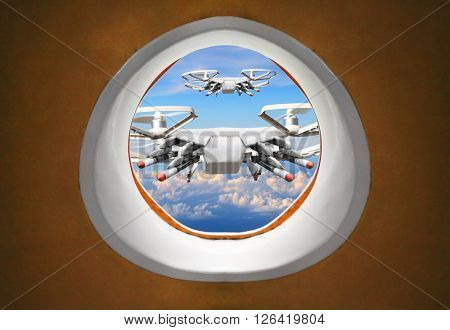 Terroristic attack to airliner from drone. New technology for crime.