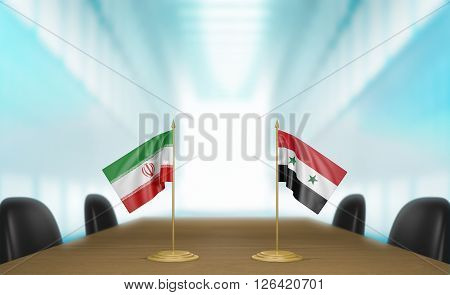 Iran and Syria relations and trade deal talks, 3D rendering