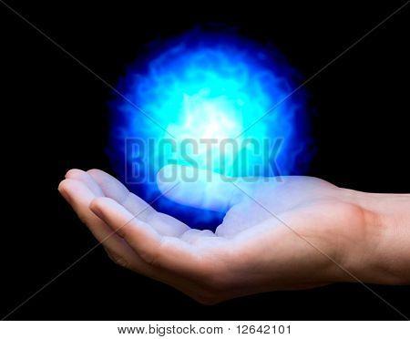 Blue Fireball On Hand