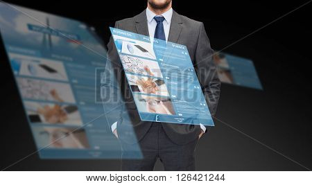 business, multimedia and people concept - close up of businessman in suit with world news on virtual screen projection