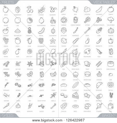 100 food thin line icons.