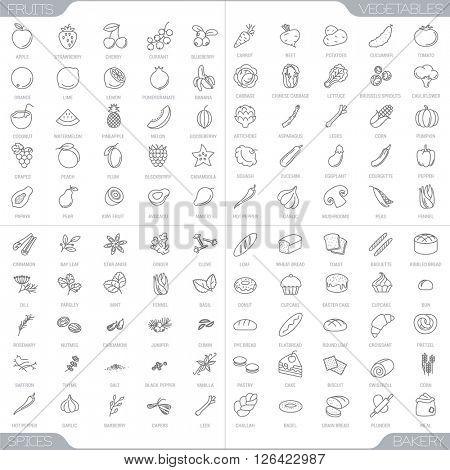 100 food thin line icons.