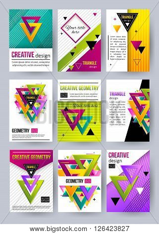 Set of triangle cards. Triangle pattern. Triangle design. Triangle vector. Triangle abstract. Triangle icon. 3D triangle. Triangle logo. Triangle business card template. Vector illustration.