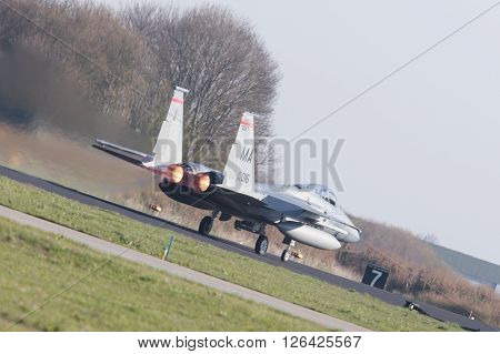 Leeuwarden, Netherlands - April 11, 2016: Us Air Force F-15 Eagle Takking Off During The Exercise Fr