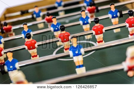 Close Up Of Foosball Table Soccer Game Match Figures.