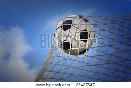 soccer ball agains blue sky