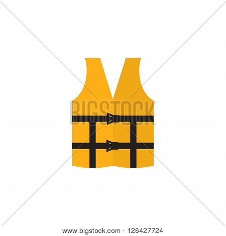 Orange life vest isolated on a white background. Life jacket icon. Lifejacket in flat style.