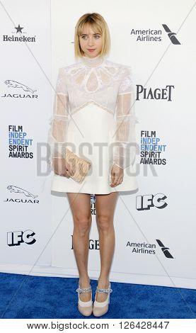 Zoe Kazan at the 2016 Film Independent Spirit Awards held at the Santa Monica Beach in Santa Monica, USA on February 27, 2016.