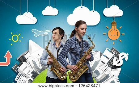 Musical duet. Concept image