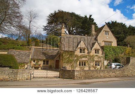 "Ancient village ""Bibury"" in the Cotswolds region"