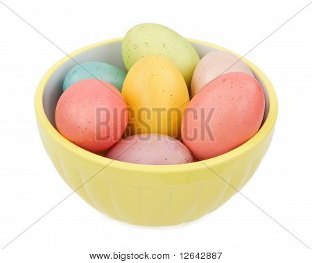 Pastel Colored Easter Eggs In A Yellow Bowl